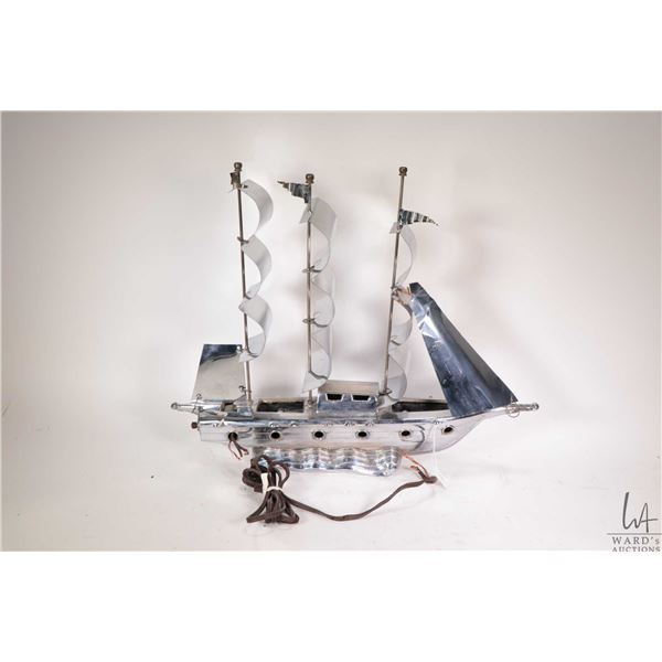 """Vintage chrome finish sailboat motif accent lamp, 18"""" in length, needs rewiring"""