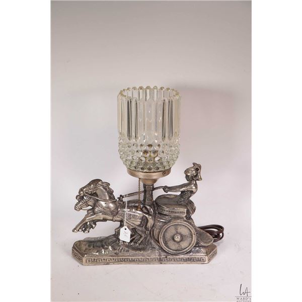 Chariot motif table lamp, working at time of cataloguing