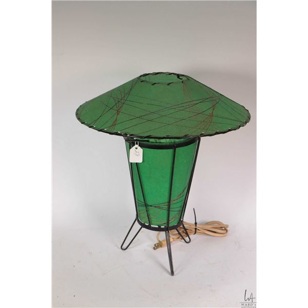 """Mid century fiberglass and bent wire lamp 14"""" in height and working at time of cataloguing"""