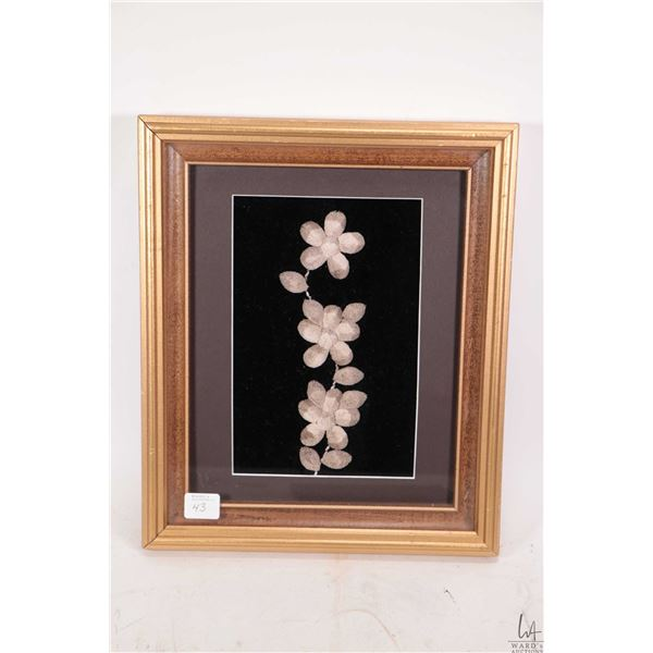 """Framed moose tufting 12"""" X 10"""" overall dimensions including frame"""
