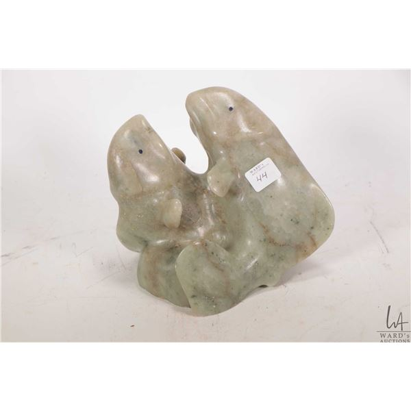 """Inuit carving of two surfacting beluga whales signed by artist Paual Adluk ( Gjoa Haven) 7"""" X 6"""" X 5"""