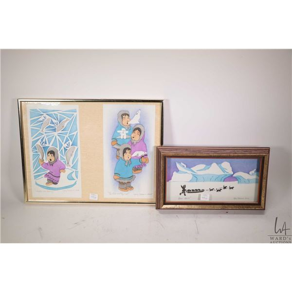 """Two framed Inuit coloured stencil prints including """"Too Cold to Play Out"""" each print in this double"""