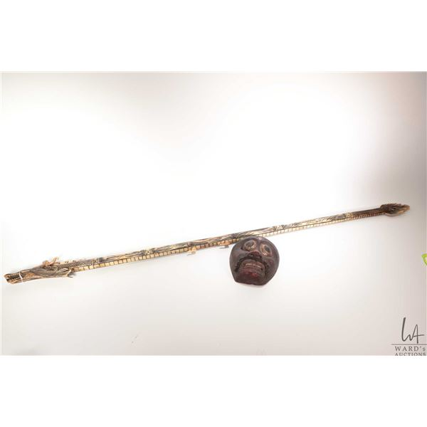 """Vintage Balinese hand carved bovine bone Dragon blow gun 57"""" in length, note separates into three pi"""