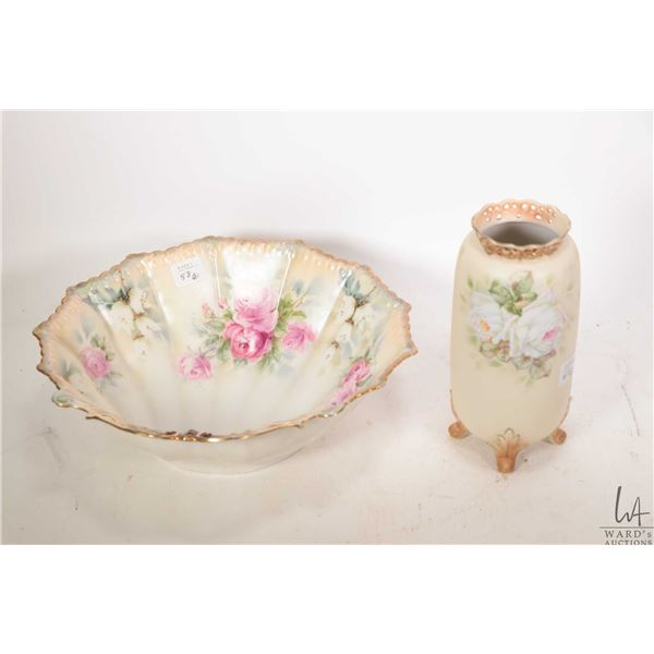 """Antique R.S. Prussian shell shaped, rose motif dish with handpainted gilt detailing 10"""" in diameter"""