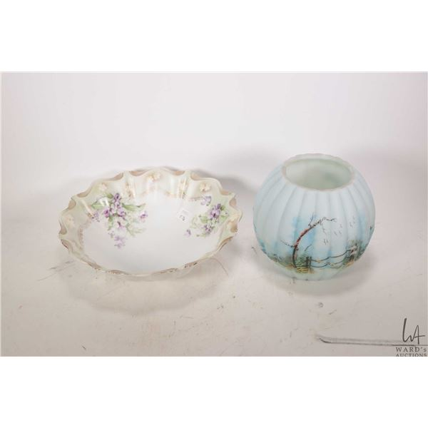 """Antique Victorian handpainted milk glass Robins egg blue pumpkin shaped rose bowl 6"""" in height and a"""