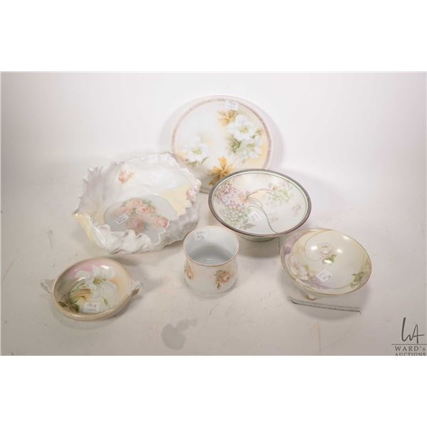 """Tray lot of vintage and antique china including R. S. Prussia rost motif cabbage leaf bowl 9"""" in dia"""