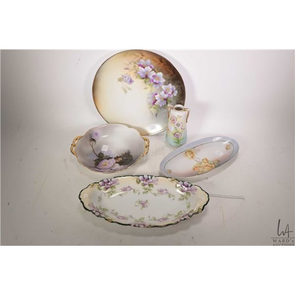 """Selection of vintage and antique china including Noritake rose motif handpainted 10"""" bowl, R.S. 12"""""""