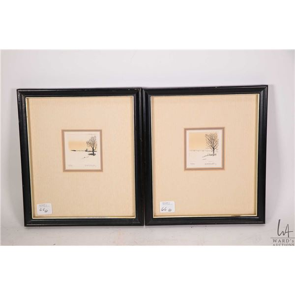 Four framed miniature limited edition prints two number 2/99 and two number 6/99 pencil signed by ar