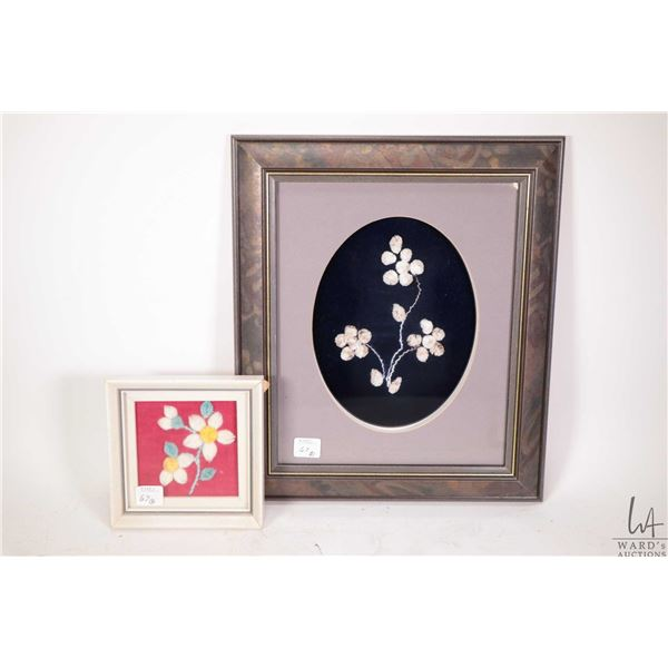 """Two framed moose tuftings including 14"""" X 12"""" overall dimensions and 5 1/2"""" X 5 1/2"""" both pictures a"""