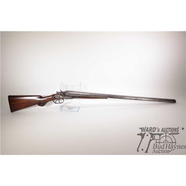 """Non-Restricted shotgun T. Baker model SXS, 12Ga two shot hinge break, w/ bbl length 29 1/2"""" [Well wo"""