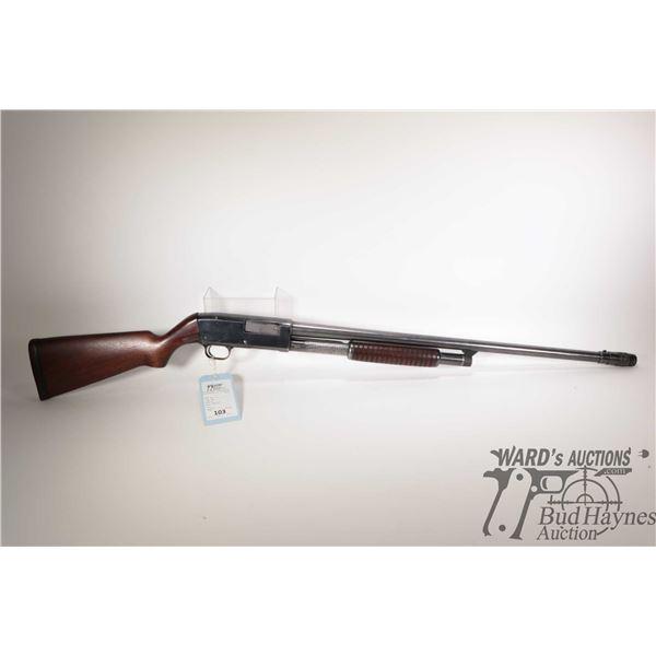 "Non-Restricted shotgun Noble model 40, 12Ga 2 3/4"" pump action, w/ bbl length 27"" [Blued barrel and"