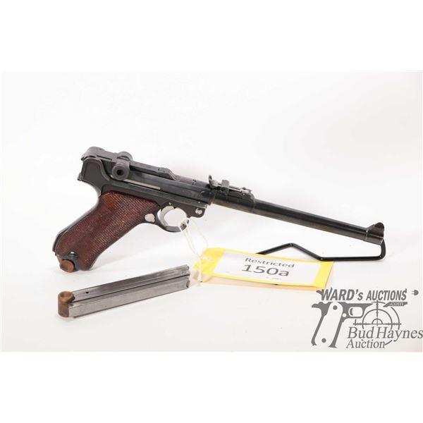 Restricted handgun Luger (DWM) model 1917 Artillery, 9mm Luger eight shot semi automatic, w/ bbl len