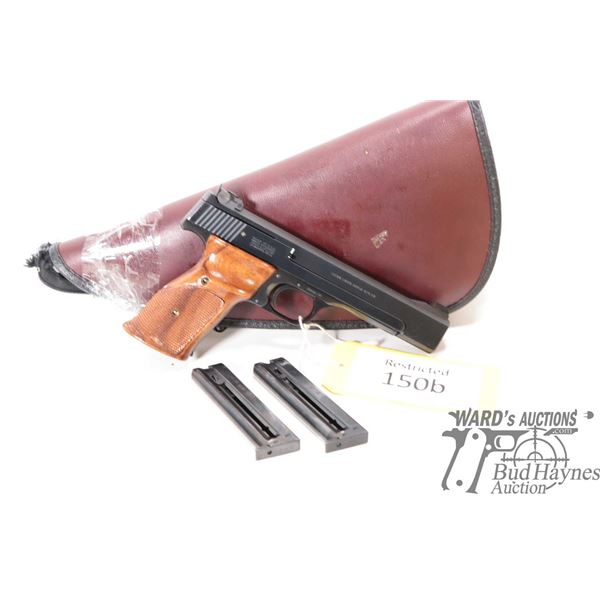 Restricted handgun S&W model 41, 22LR ten shot semi automatic, w/ bbl length 140mm [Blued finish wit
