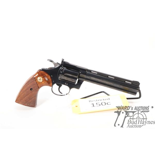 Restricted handgun Colt model Diamondback, 22LR six shot double action revolver, w/ bbl length 152mm