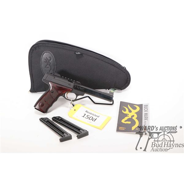 Restricted handgun Browning model Buck Mark, 22LR ten shots semi automatic, w/ bbl length 140mm [Blu