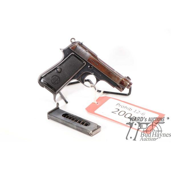 Prohib 12-6 handgun Beretta model 1934, 9 Corto (380) seven shot semi automatic, w/ bbl length 90mm