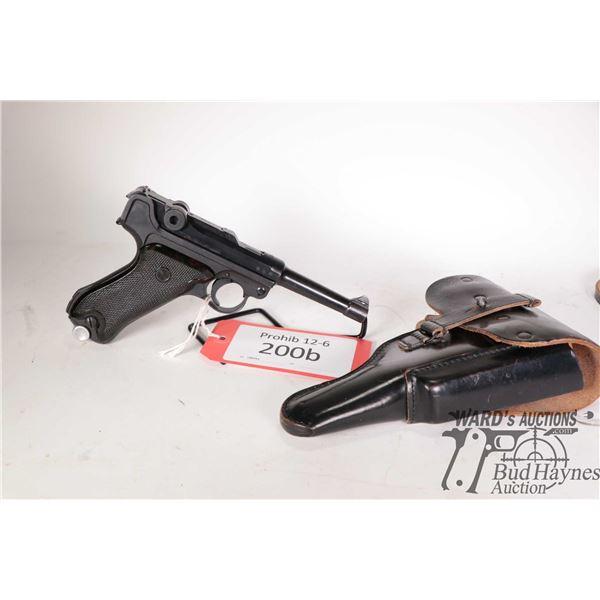 Prohib 12-6 handgun Luger (S/42) model P08, 9mm Luger semi automatic, w/ bbl length 102mm [Blued fin