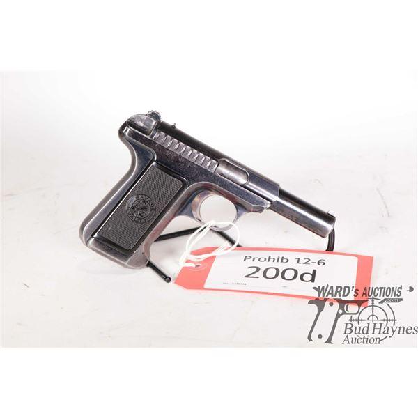 Prohib 12-6 handgun Savage model 1910, 32 ACP semi automatic, w/ bbl length 95mm [Blued finish with