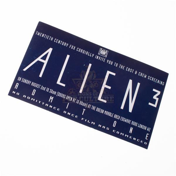 Alien 3 – Original Cast & Crew Screening Ticket – A892