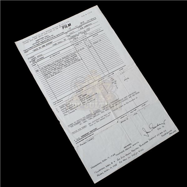 Back to the Future - Original Production Call Sheet (99th Day of Filming) – A26