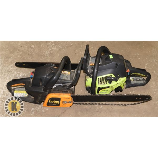 LOT OF 2 POULAN GAS CHAINSAWS - AS IS