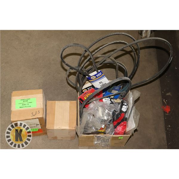 BOX OF ASSORTED FAN BELTS, HOSE CLAMPS AND MORE