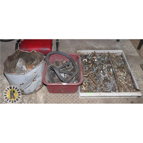 3 ASSORTED BINS OF BOLTS, WASHERS & MORE