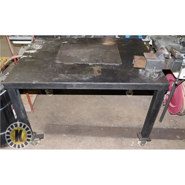 """HEAVY DUTY METAL WORK TABLE WITH MOUNTED 8"""" BENCH"""