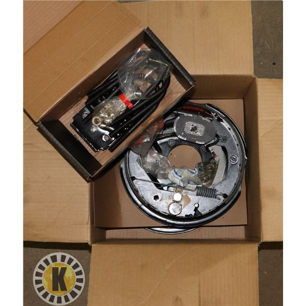BOX WITH NEW TRAILER BRAKE, U-BOLTS AND CONNECTORS