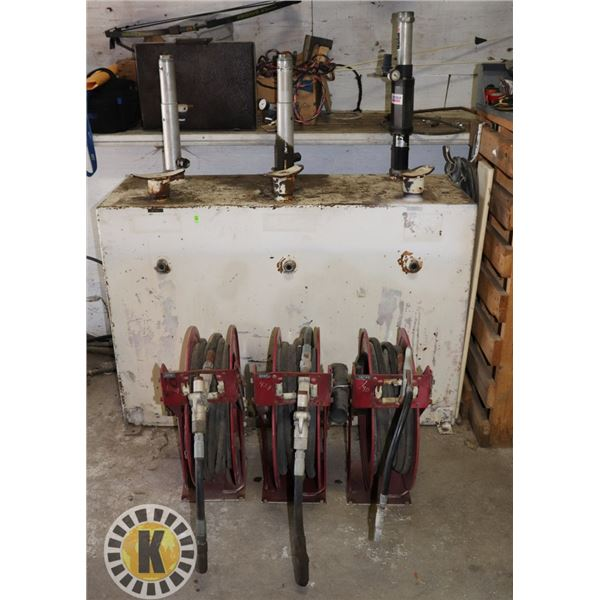 3 COMPARTMENT OIL DISPENSING TANK CABINET WITH 3