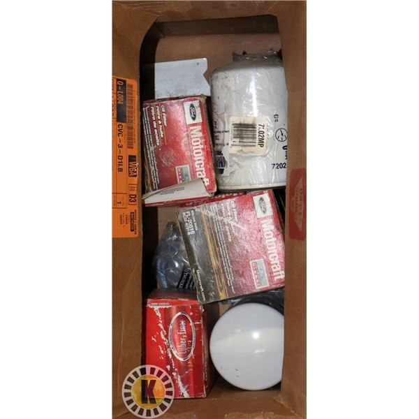 BOX OF ASSORTED OIL & FUEL FILTERS