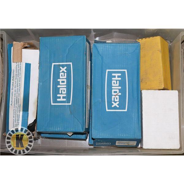 BOX OF HALDEX BRAKE PARTS FOR BIG TRUCKS