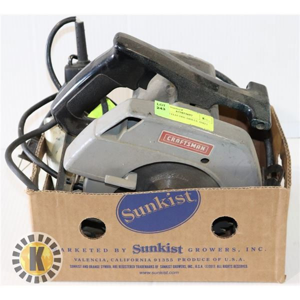 SET OF 2 ELECTRIC DRILLS  AND 1 SAW