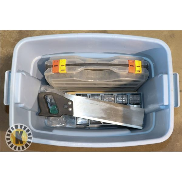 TOTE OF PARTS ORGANIZERS, ANGLE RULER,