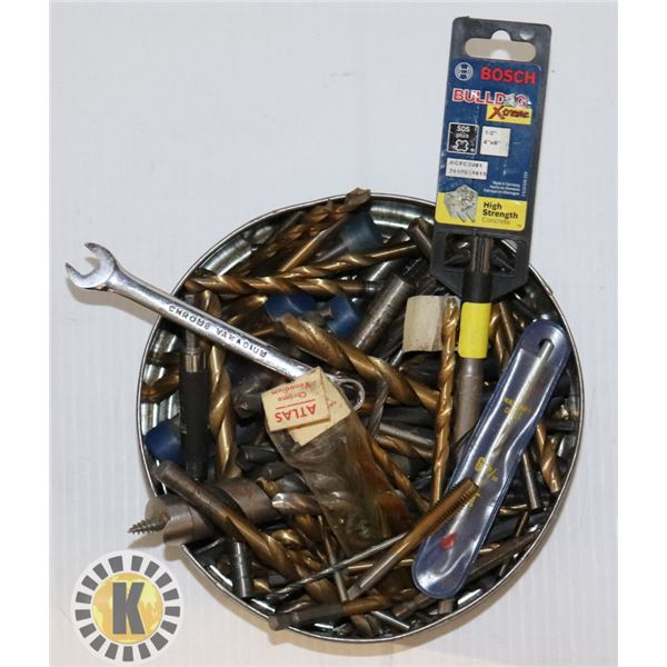 COLLECTIBLE TIN WITH DRILL BITS AND MORE