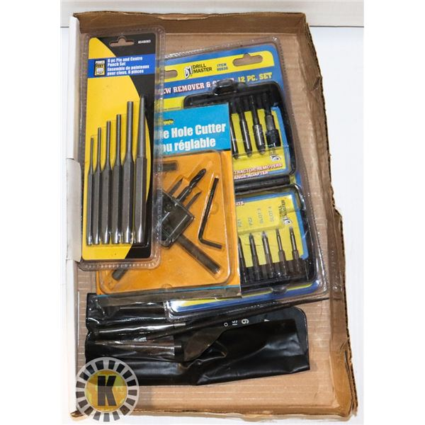 ADJUSTABLE HOLE CUTTER, CENTRE PUNCH SET AND MORE