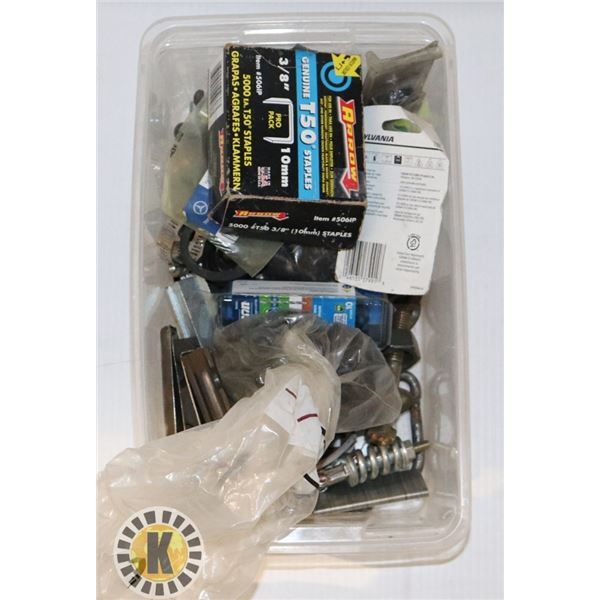 SMALL TOTE OF STAPLES, ASSORTED FASTENERS AND MORE