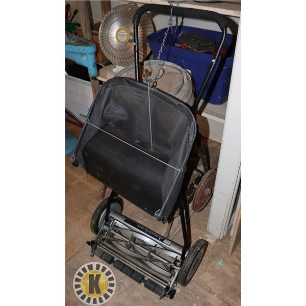 PUSH MOWER WITH BAG ATTACHMENT