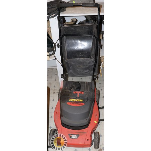24V BLACK & DECKER CORDLESS LAWN MOWER WITH CHARGER