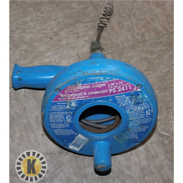 """SPRING WIRE CANNISTER AUGER 1/4"""" X 25'"""