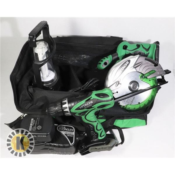 HITACHI CORDLESS TOOL SET IN BAG WITH CHARGER