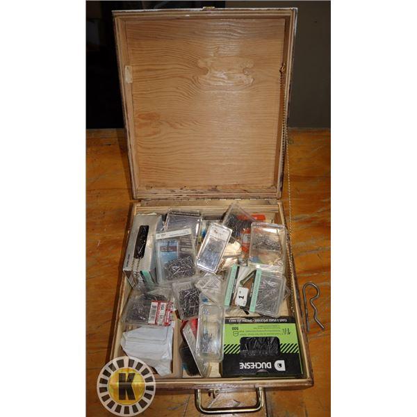 WOOD BOX OF ASSORTED FINISHING NAILS
