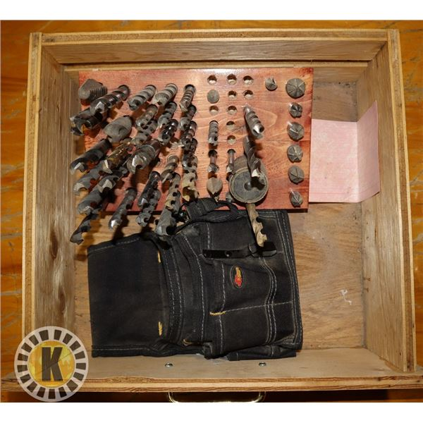 DRAWER FULL OF DRILL BITS AND ONE TOOL POUCH