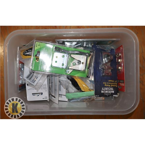 TOTE OF ASSORTED HARDWARE INCLUDING HINGES,