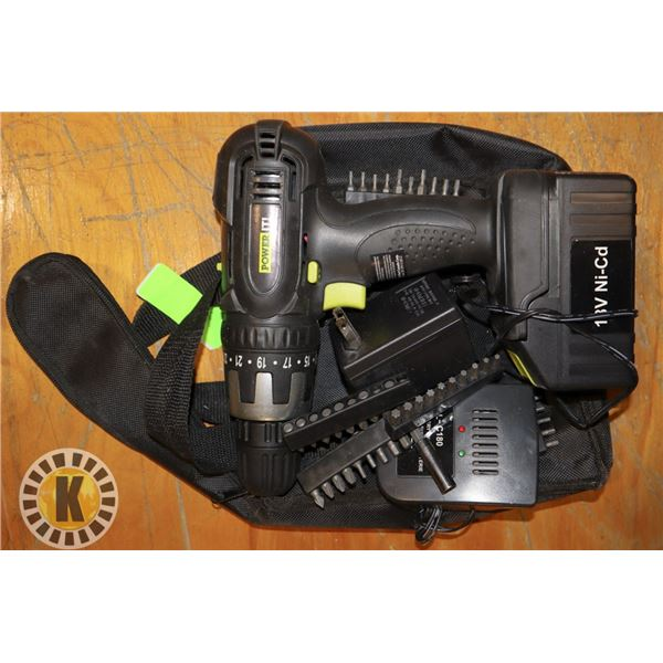 18V POWER IT CORDLESS DRILL WITH BATTERY AND