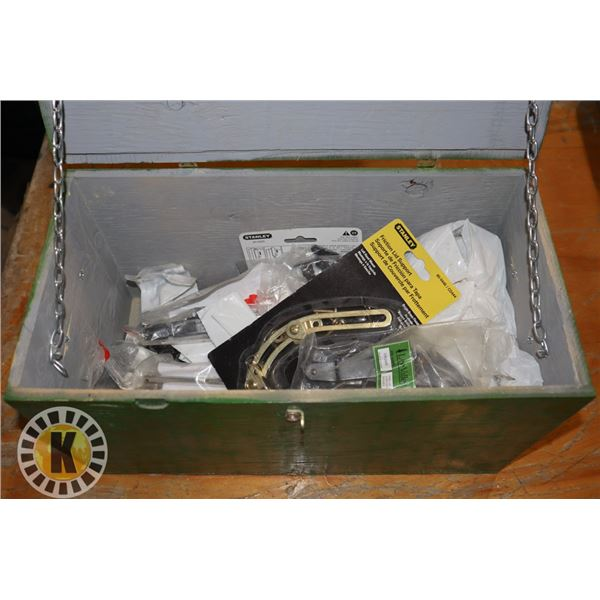 WOOD BOX OF ASSORTED HARDWARE (MOST NEW)