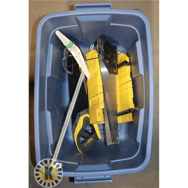 TOTE OF HAND SAWS AND MITER BOXES
