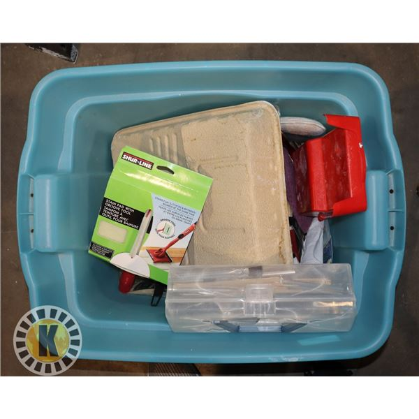 LARGE TOTE OF ASSORTED PAINTING SUPPLIES