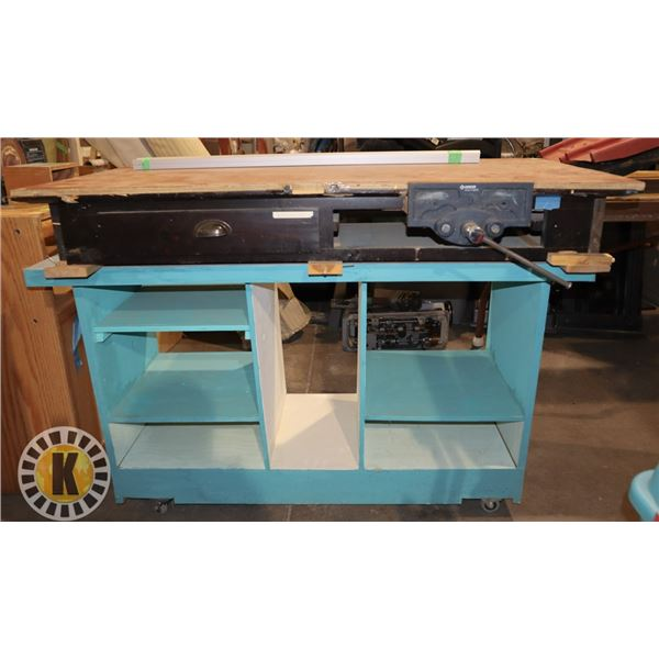 HOMEMADE WORK BENCH (INCLUDES VICE)