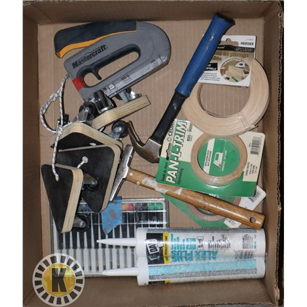 BOX OF ASSORTED TOOLS AND HARDWARE